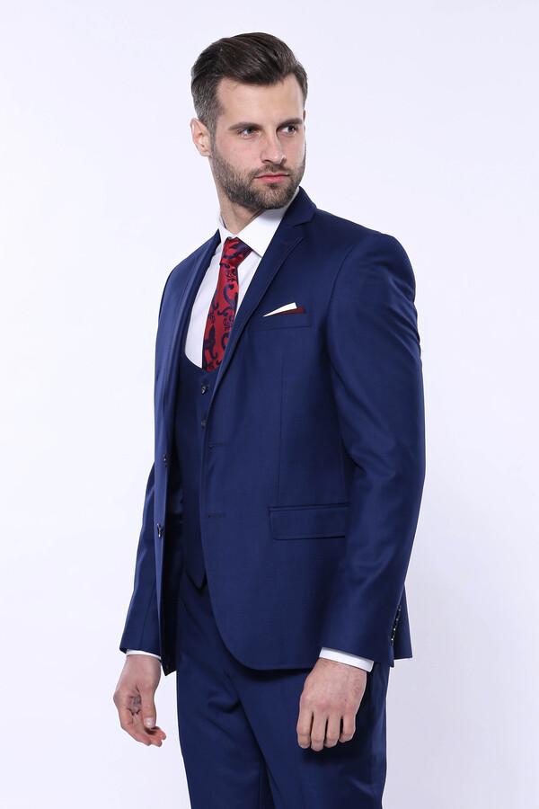 Düz Lacivert Yelekli Takım Elbise   Wessi