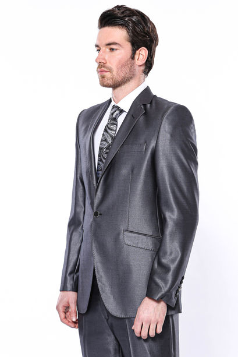 Düz Parlak Füme Slim Fit Takım Elbise | Wessi