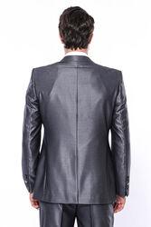 Düz Parlak Füme Slim Fit Takım Elbise | Wessi - Thumbnail