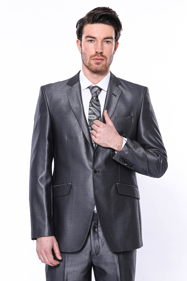 Düz Parlak Füme Slim Fit Takım Elbise   Wessi