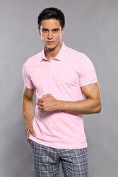Polo Yaka Düz Pembe T-shirt   Wessi - Thumbnail
