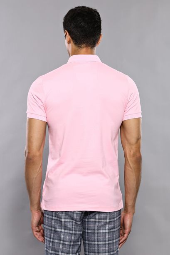 Polo Yaka Düz Pembe T-shirt   Wessi