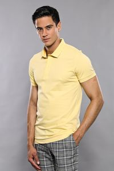 Polo Yaka Düz Sarı T-shirt   Wessi - Thumbnail