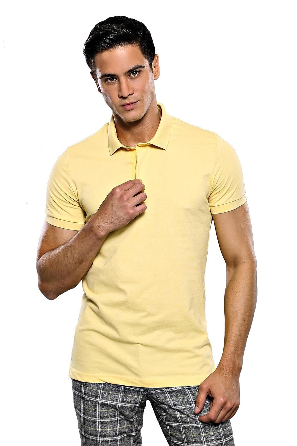Polo Yaka Düz Sarı T-shirt   Wessi