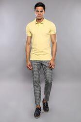 Polo Yaka Düz Sarı T-shirt | Wessi - Thumbnail