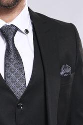 Düz Siyah Slim Fit Yelek Ceket Set | Wessi - Thumbnail