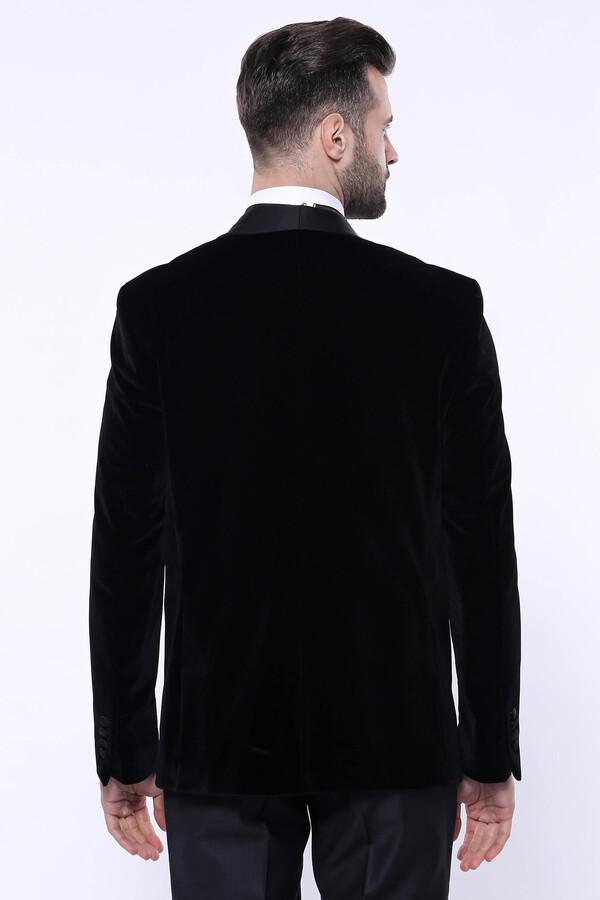 Düz Siyah Velvet Ceket | Wessi
