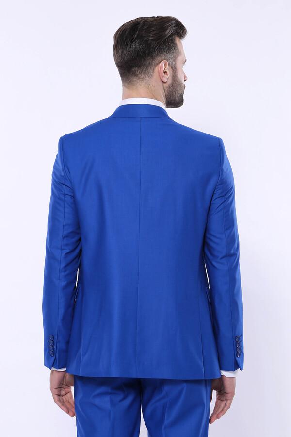 Düz Slim Fit Mavi Yelekli Takım Elbise | Wessi