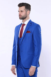 Düz Slim Fit Mavi Yelekli Takım Elbise | Wessi - Thumbnail