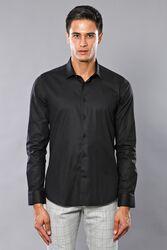 Düz Slimfit Siyah Gömlek | Wessi - Thumbnail