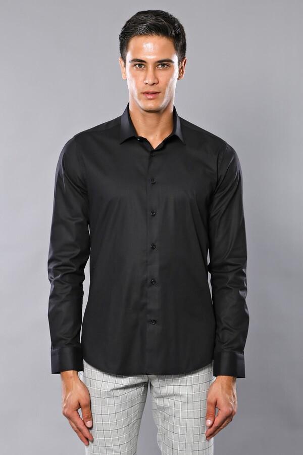 Düz Slimfit Siyah Gömlek | Wessi