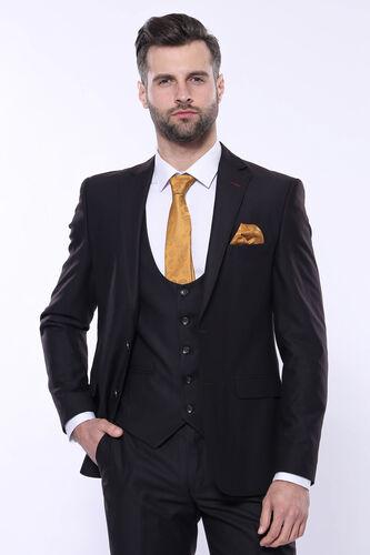 Düz Yelekli Koyu Kahverengi Takım Elbise | Wessi