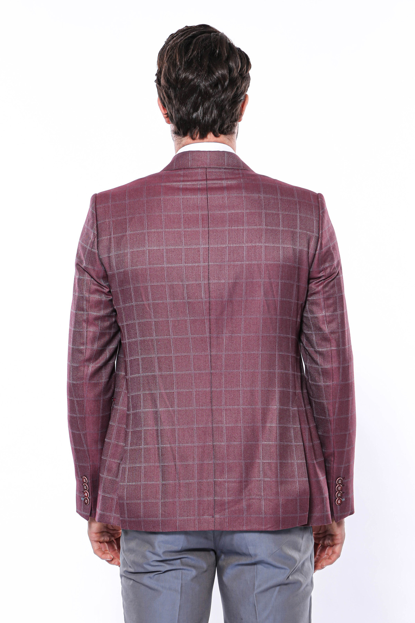 Ekose Bordo Kombinli Yelekli Takım Elbise | Wessi