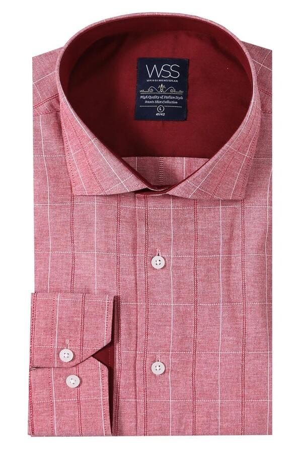 Ekose Desen Bordo Uzun Kollu Gömlek | Wessi