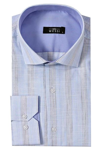 Ekose Buz Mavi Uzun Kollu Gömlek | Wessi