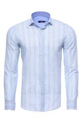 Ekose Buz Mavi Uzun Kollu Gömlek | Wessi - Thumbnail