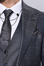 Ekose Ceket Açık Lacivert Yelekli Takım Elbise | Wessi - Thumbnail
