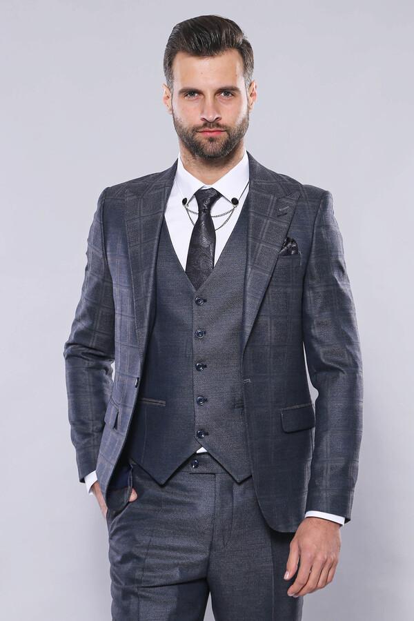 Ekose Ceket Açık Lacivert Yelekli Takım Elbise | Wessi