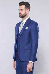 Ekose Ceket Mavi Yelekli Takım Elbise | Wessi - Thumbnail