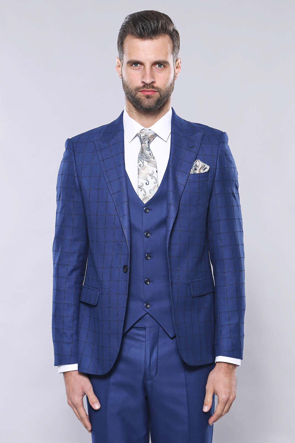 Ekose Ceket Mavi Yelekli Takım Elbise | Wessi