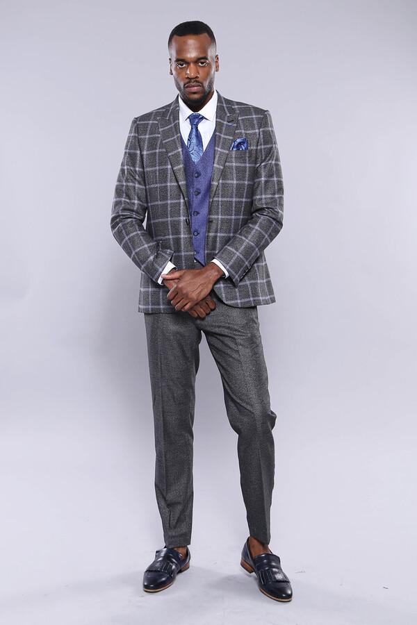 Ekose Ceket Pantolon Yelek Düz Füme Takım Elbise | Wessi