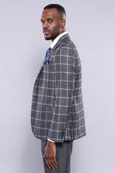 Ekose Ceket Pantolon Yelek Düz Füme Takım Elbise | Wessi - Thumbnail