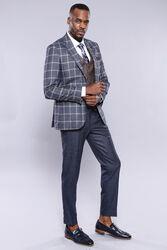Ekose Ceket Pantolon Yelek Düz Lacivert Takım Elbise | Wessi - Thumbnail