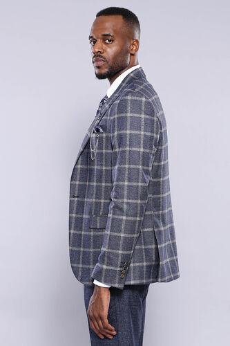 Ekose Ceket Pantolon Yelek Düz Lacivert Takım Elbise | Wessi