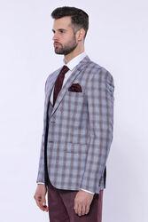 Ekose Ceket Yelek Düz Pantolon Bordo Takım Elbise - Thumbnail