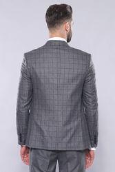 Ekose Ceket Yelek Pantolon Düz Gri Takım Elbise | Wessi - Thumbnail