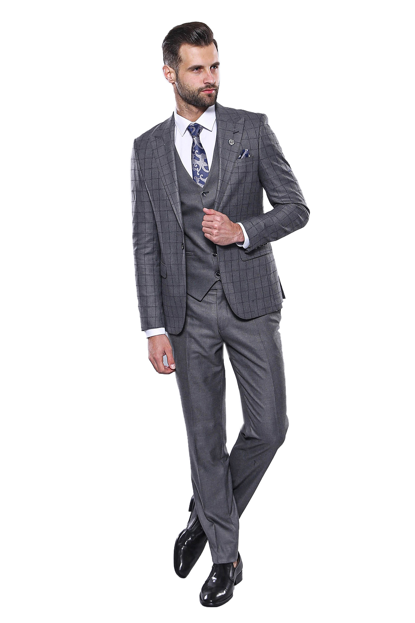 Ekose Ceket Yelek Pantolon Düz Gri Takım Elbise | Wessi