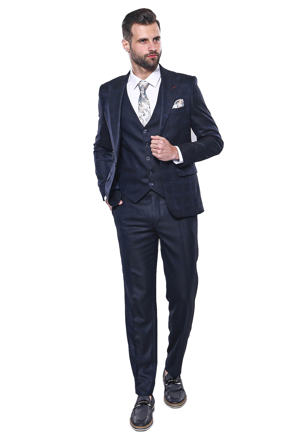 Ekose Ceket Yelekli Lacivert Takım Elbise | Wessi