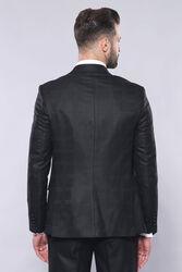 Ekose Ceket Yelekli Slim Fit Siyah Takım Elbise | Wessi - Thumbnail