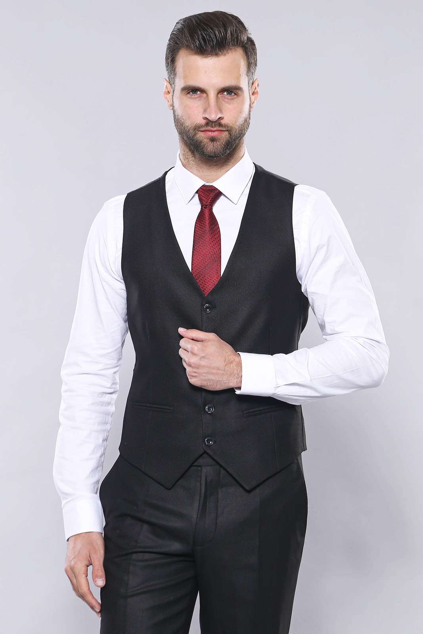 Ekose Ceket Yelekli Slim Fit Siyah Takım Elbise | Wessi
