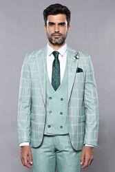 Ekose Ceket Su Yeşili Yelekli Takım Elbise | Wessi - Thumbnail