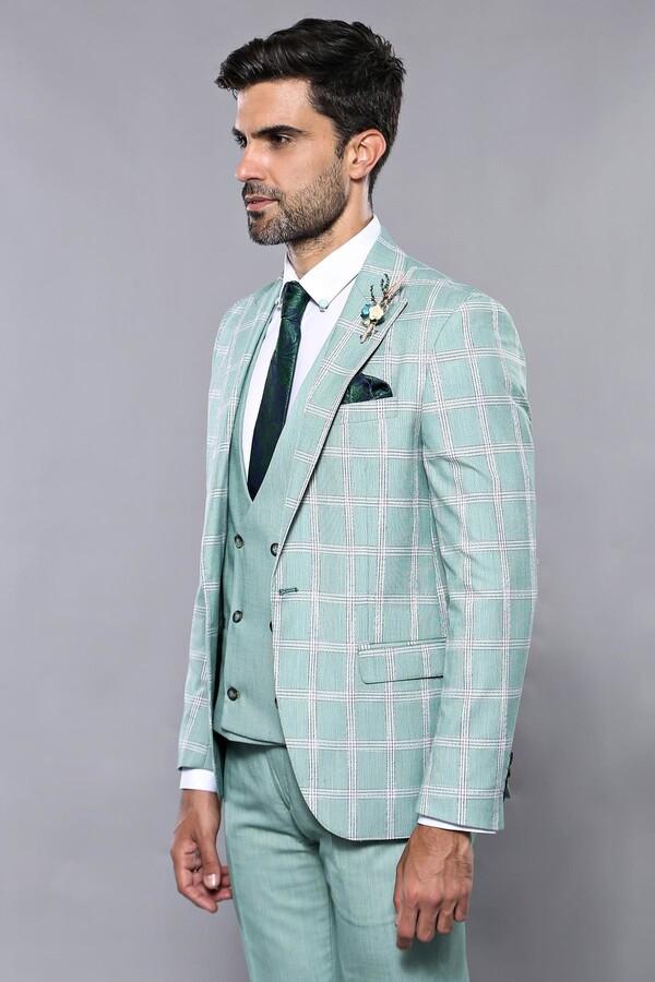 Ekose Ceket Su Yeşili Yelekli Takım Elbise | Wessi