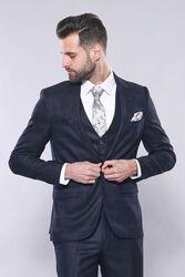 Ekose Ceket Yelekli Lacivert Takım Elbise | Wessi - Thumbnail