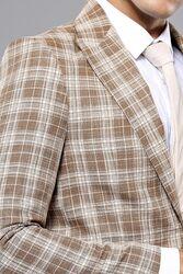 Ekose Desen Bej Slim Fit Ceket | Wessi - Thumbnail