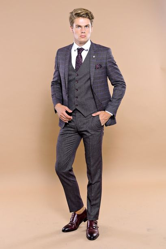 Ekose Desen Slim Fit Yelekli Takım Elbise | Wessi