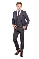 Ekose Desen Slim Fit Yelekli Takım Elbise | Wessi - Thumbnail