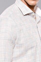 Ekose Desenli Bej Slim Fit Gömlek | Wessi - Thumbnail