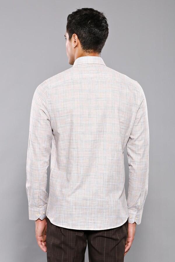 Ekose Desenli Bej Slim Fit Gömlek | Wessi