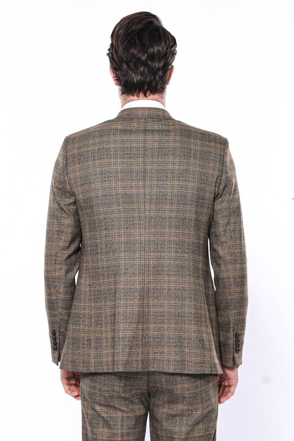Ekose Desenli Kahverengi Slim Fit Tek Ceket | Wessi