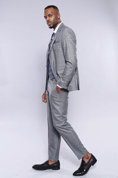 Ekose Gri Ceket Pantolon Yelek Düz Takım Elbise | Wessi - Thumbnail