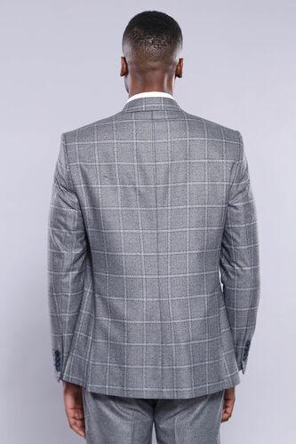 Ekose Gri Ceket Pantolon Yelek Düz Takım Elbise | Wessi