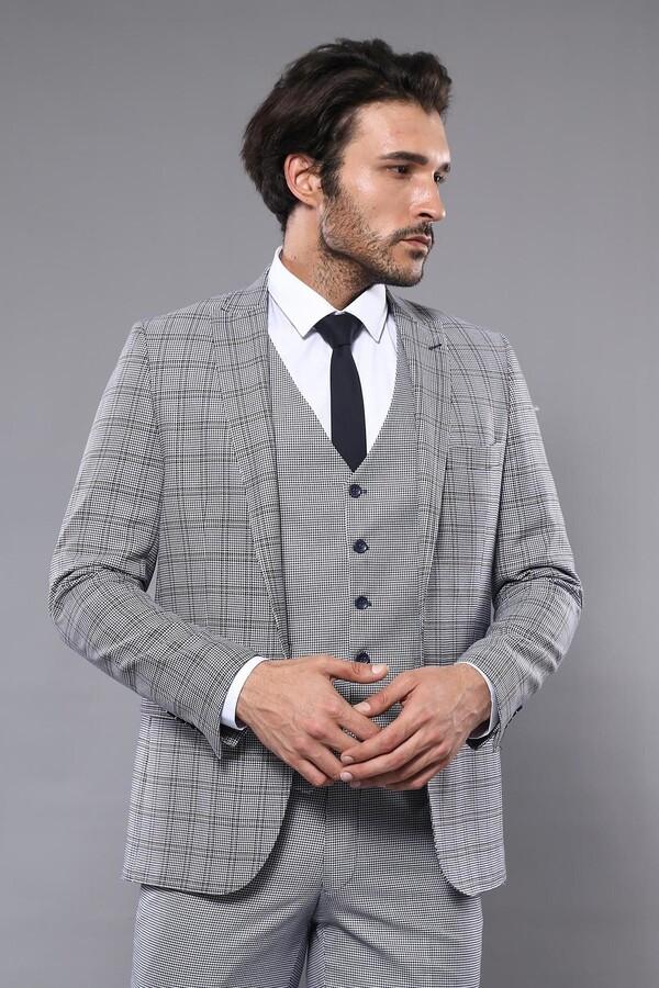 Ekose Slim Fit Yelekli Takım Elbise | Wessi