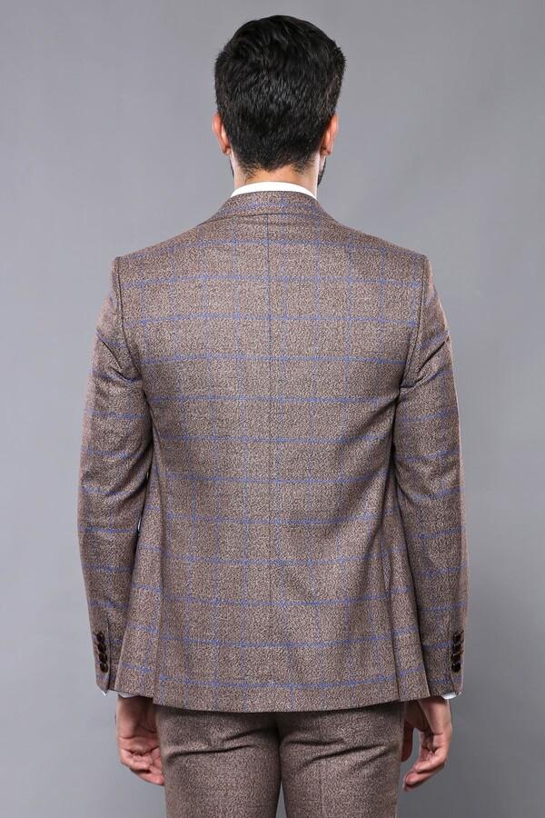 Ekose Kahverengi Kombinli Spor Yelekli Takım Elbise | Wessi