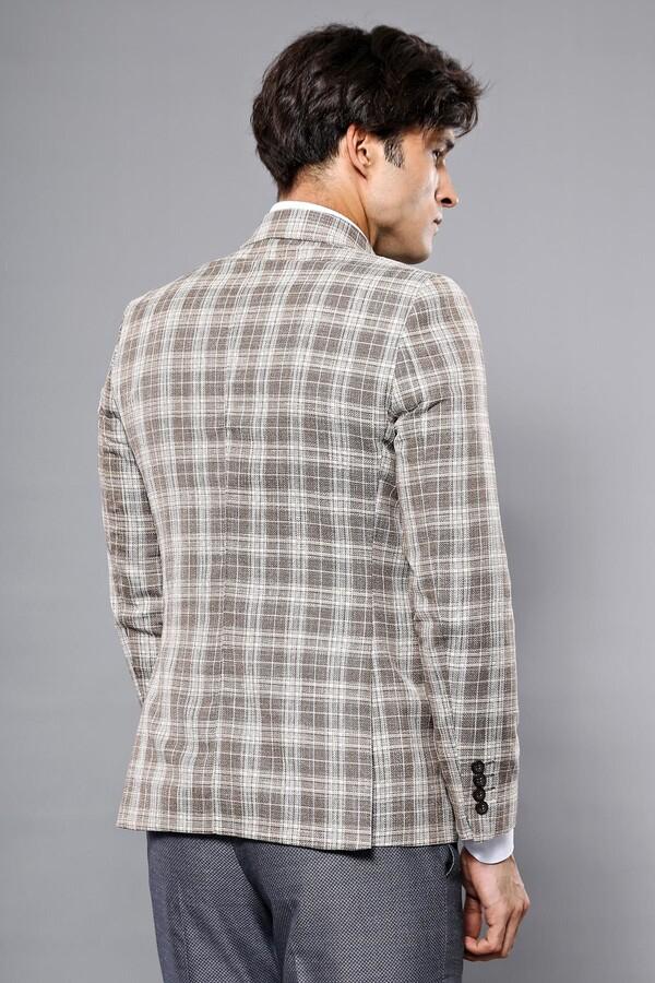 Ekose Kahverengi Slim Fit Ceket | Wessi