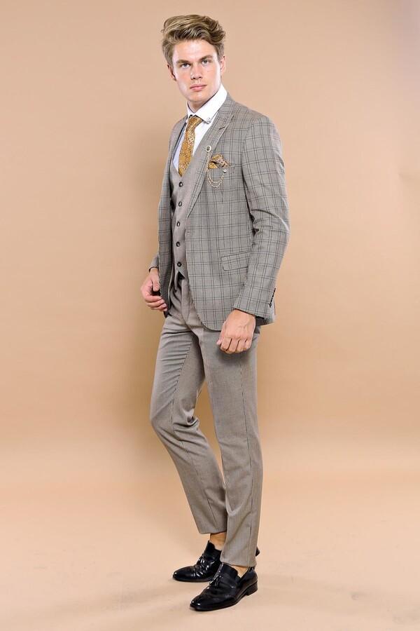 Ekose Kahverengi Yelekli Slim Fit Spor Takım Elbise | Wessi
