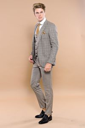 Ekose Kahverengi Yelekli Slim Fit Spor Takım Elbise | Wessi - Thumbnail